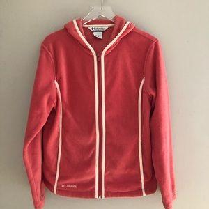 Columbia Fleece Jacket Full Zip Berry L Hood